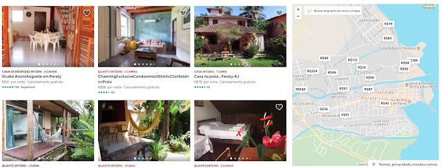 Página de busca do Airbnb