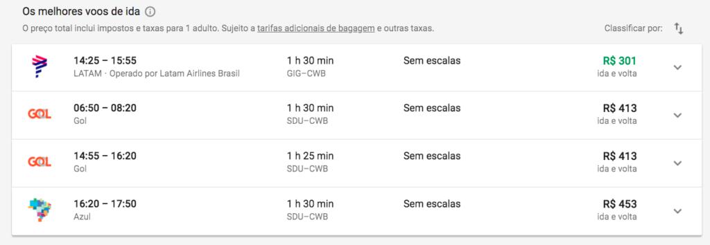 Google Flights resultado da pesquisa