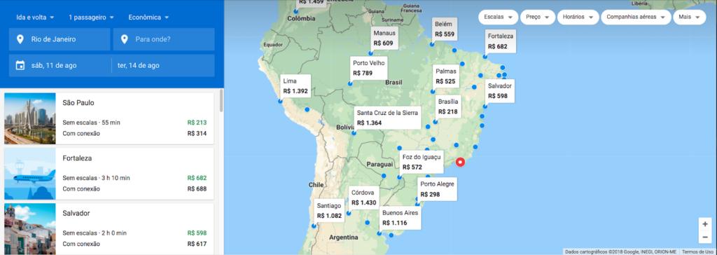 Google Flights Mapa interativo