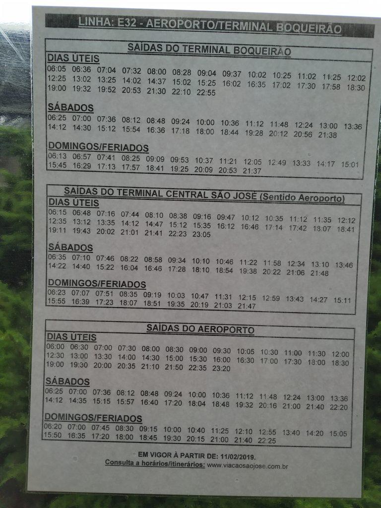 Horários de ônibus saindo do Aeroporto de Curitiba