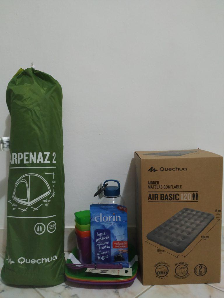 Compramos alguns itens para o nosso acampamento